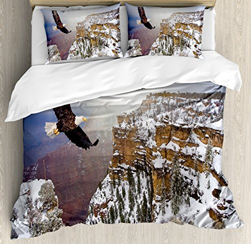 Ambesonne Wildlife Decor Duvet Cover Set, Aerial View of Bald Eagle Flying in Snowy Grand Canyon Rocky Arizona USA, 3 Piece Bedding Set with Pillow Shams, Queen/Full, White ()