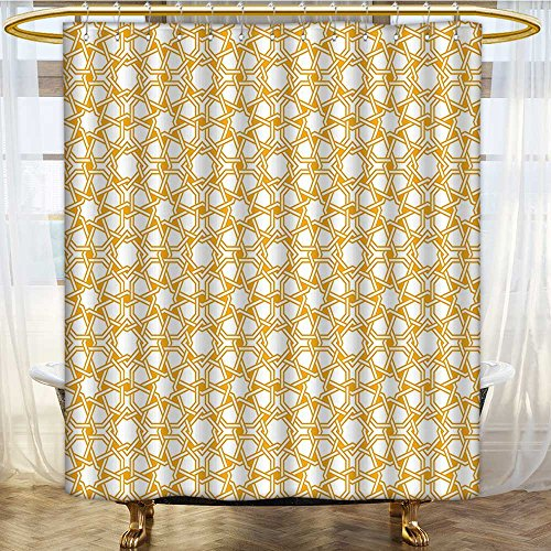 AmaPark Contemporary Shower Curtains for Bathroom Sacred Geometry with Islamic Effects Earth Yellow for Bathroom 54 x 78 inches by AmaPark