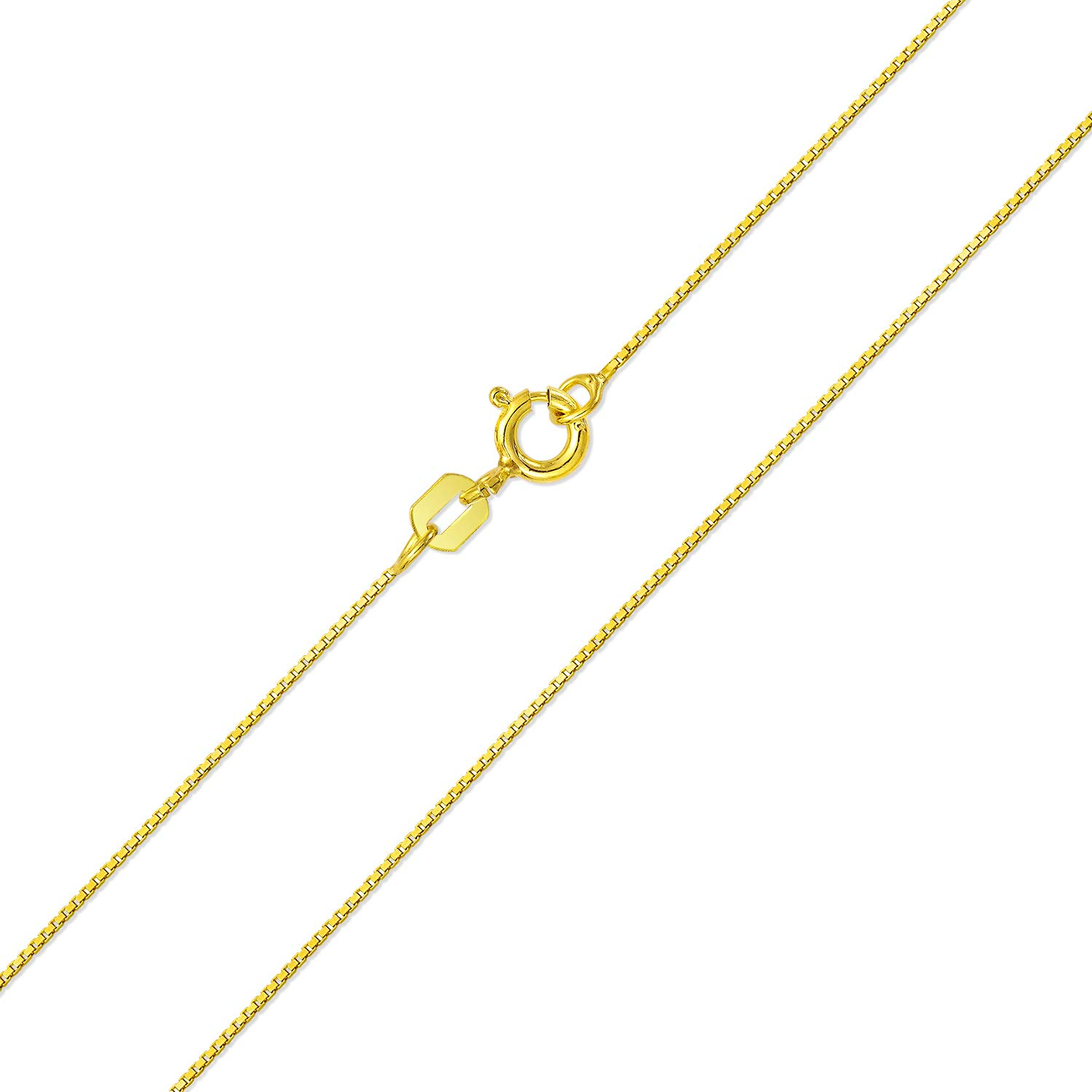 Bling Jewelry Gold Plated Unisex Box Link Chain 18 Inches BSB-Box-GOLD-18