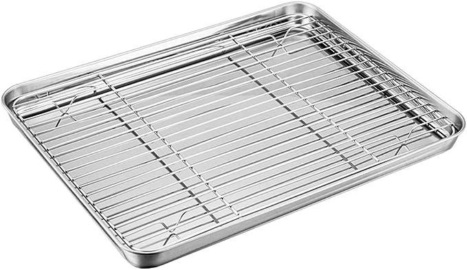 Juego de bandeja para horno con estante TeamFar de acero inoxidable con bandeja de refrigeración, saludable y no tóxico, pulido de espejo y fácil de limpiar, apto para lavavajillas.