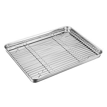 Juego de bandeja para horno con estante TeamFar de acero inoxidable con bandeja de refrigeración, saludable y no tóxico, pulido de espejo y fácil de ...