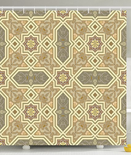 Tiles Shower Curtain Geometric Decor by Ambesonne, Classic Mexican Tile Traditional Greek and Oriental Pattern Stars Paisley Trellis Themed Design, Polyester Fabric Bathroom Shower Curtain, Beige Gray