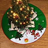 Christmas Tree Skirt Green with Reindeer Snowflakes and Snowman Design 36""