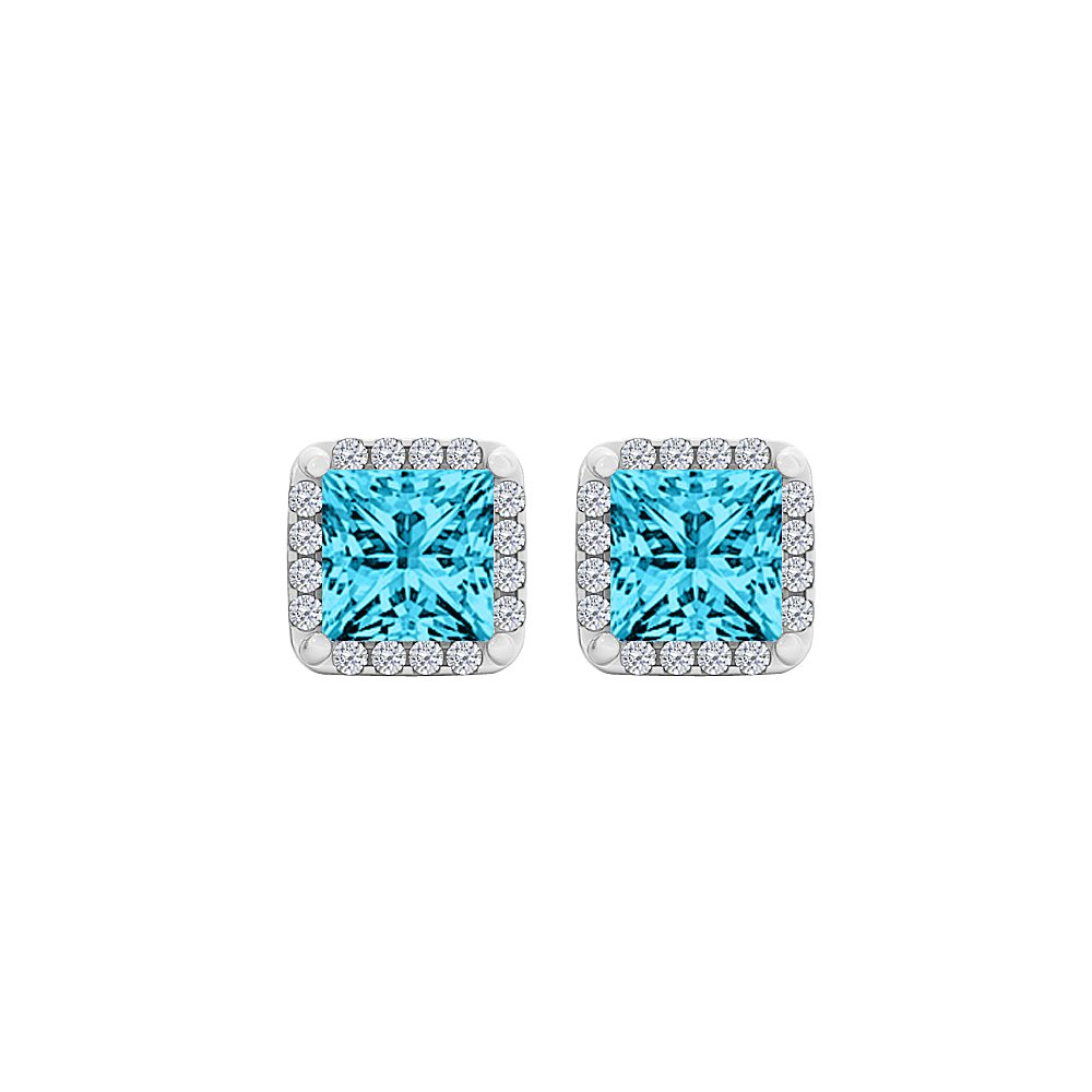 Blue Topaz CZ Square Halo Stud Earrings Sterling Silver