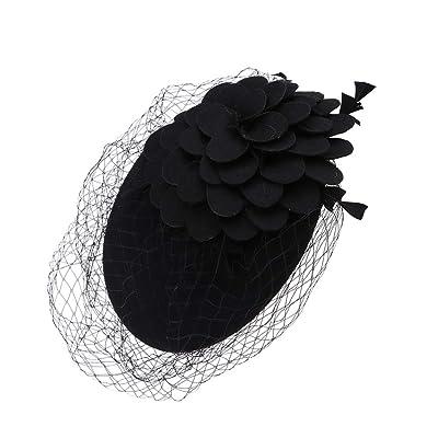 IPOTCH Sombrero de Velo Fascinator Boina Beret Francés de Lana Tocado de Pelo Nupcial para Mujer Dama de Honor - Negro, tal como se describe: Ropa y accesorios