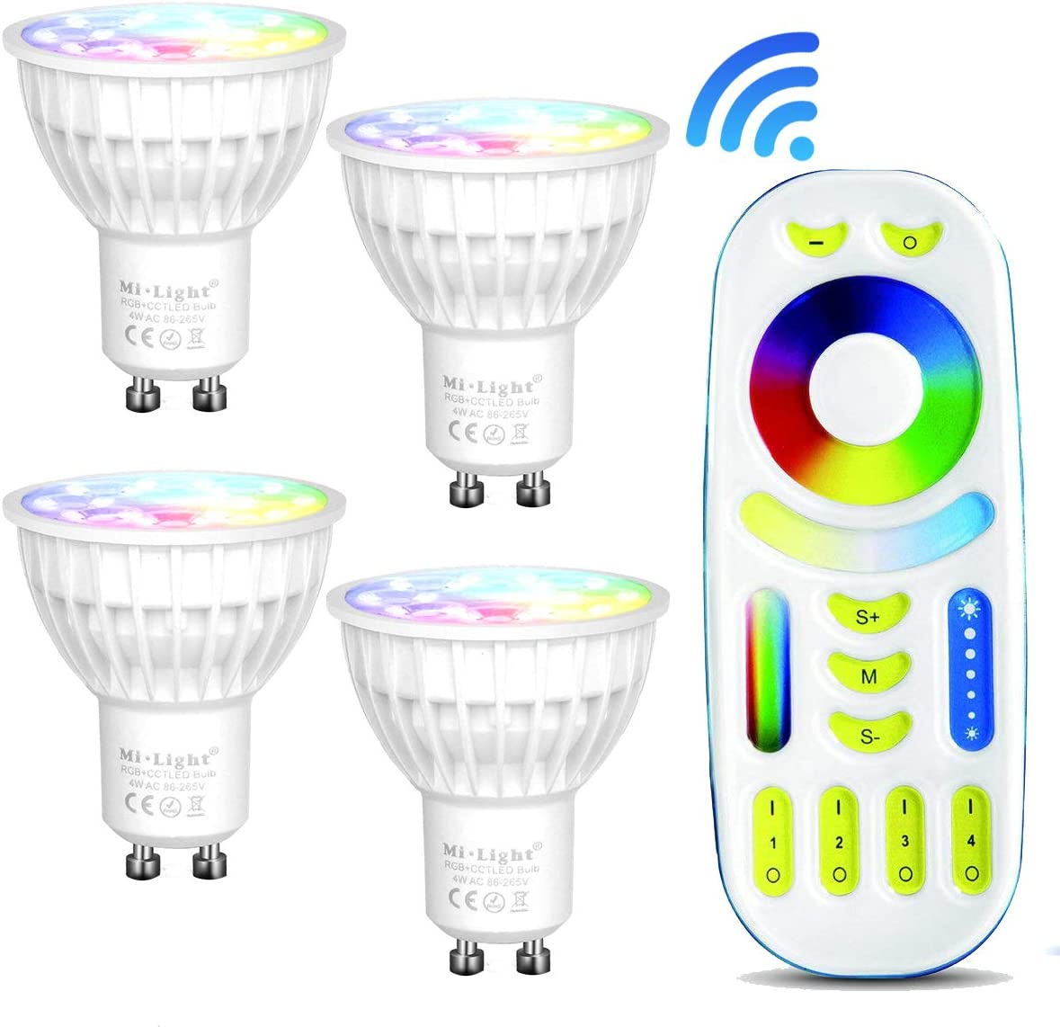 Need Controlled by Mi Light wifi ibox// Remote 4 Pack Mi-light Dimmable GU10 4W Led Bulb RGB+CCT LED Spotlight Smart Led Lamp with Remote