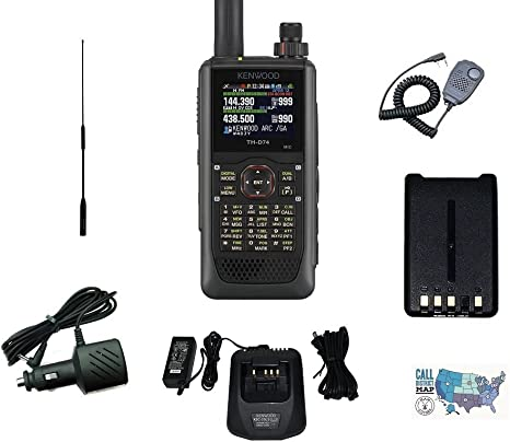 Diamond Tri-Band Antenna and Ham Guides TM Quick Reference Card Includes Kenwood Handheld Speaker Mic Kenwood TH-D74A Digital Tri-Band HT Accessory Bundle