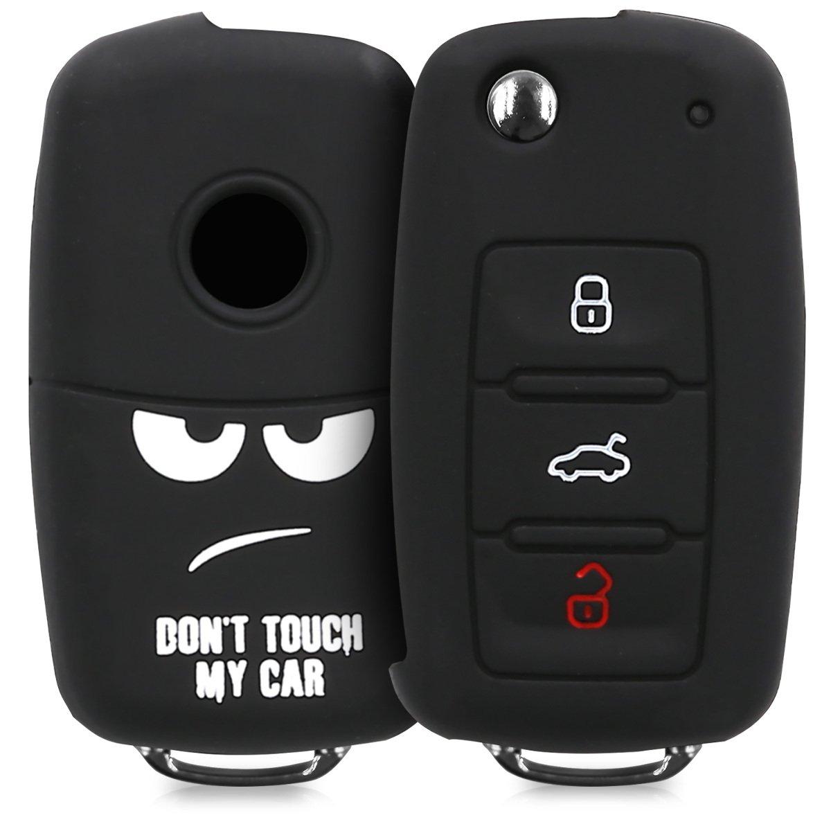 kwmobile Funda para Llave de 3 Botones para Coche VW Skoda Seat - Carcasa Protectora Suave de Silicona - Case de Mando de Auto con diseño Dont Touch ...