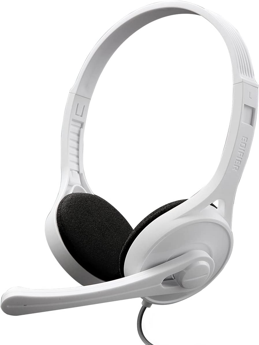 Edifier K550 Super-Light Computer Headset for Communication, Perfect for Call Center or Reception - White
