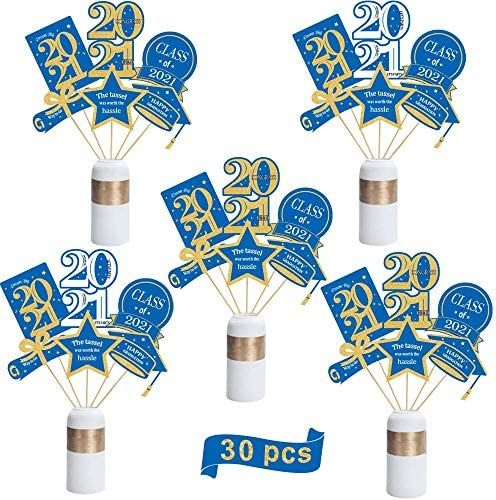 ORIENTAL CHERRY Graduation Decorations 2021-30 Pack Blue and Gold Grad Centerpiece Sticks - Class of 2021 Party Supplies Table Toppers for Kindergarten Preschool High School College
