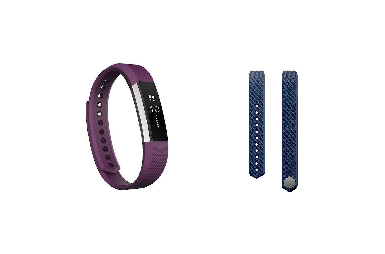 Fitbit Alta (Plum, Large) + Accessory Band (Blue, Large)