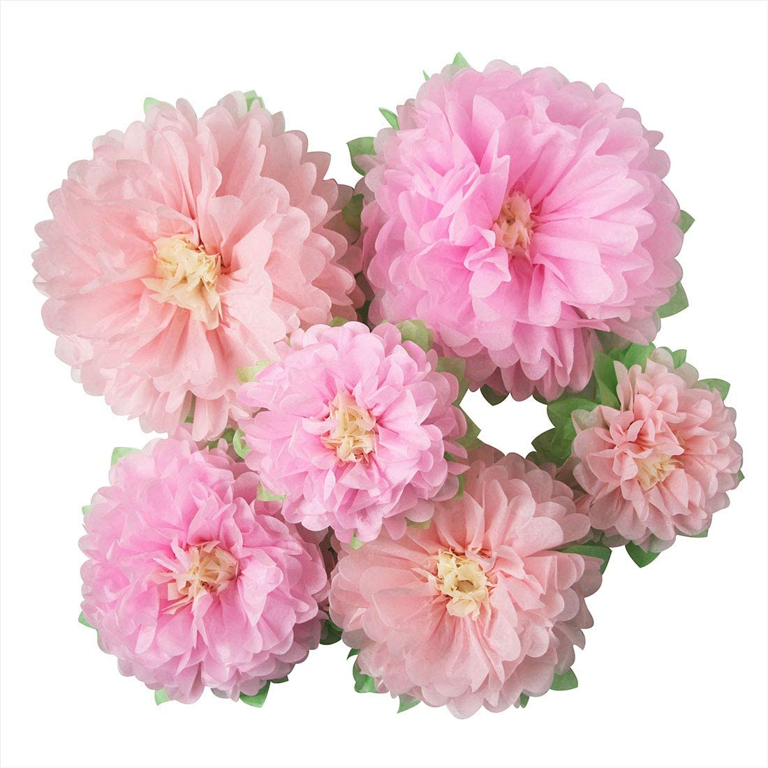 Mybbshower Pinks Flowers Decoration (11''-7'' Assorted) 6 pcs Artificial Tissue Paper Peony Nursery Wall Bridal Shower Centerpiece Baby Girl Birthday Tea Party: Toys & Games