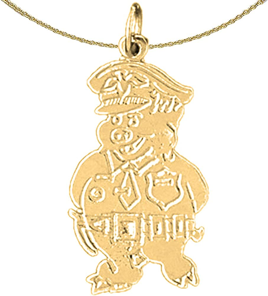 Rhodium-plated 925 Silver Pig Pendant with 16 Necklace Jewels Obsession Pig Necklace
