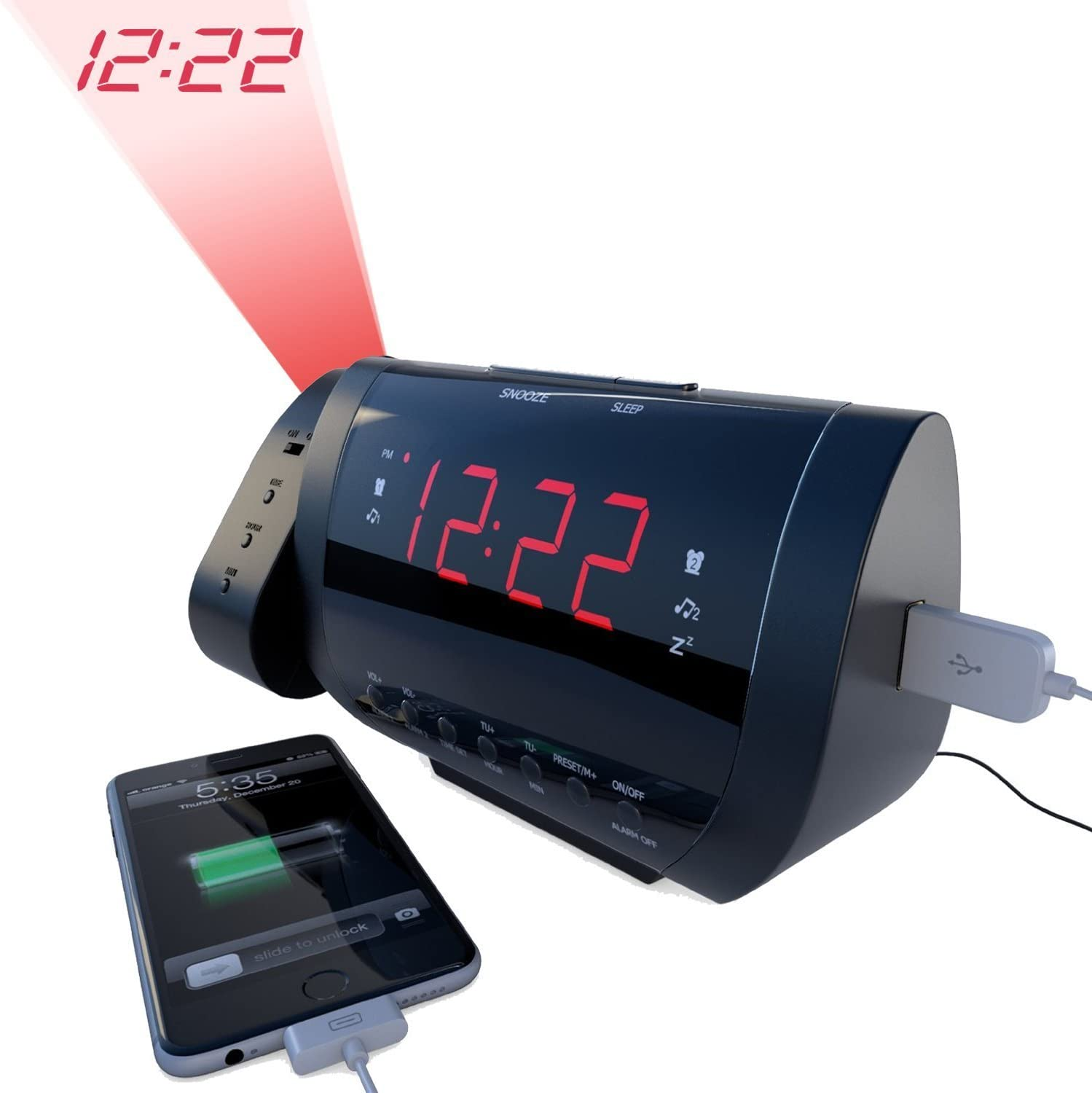 Amazon Com Rated Best Alarm Clock Radio With Time Projection Usb