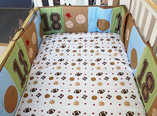 NAUGHTYBOSS Boy Baby Bedding Set Cotton Cartoon Bear Play Baseball Pattern Quilt Bumper Bedskirt Fitted Diaper Bag 8 Pieces Set Blue by NAUGHTYBOSS (Image #5)