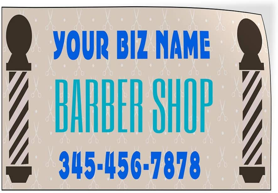 Custom Door Decals Vinyl Stickers Multiple Sizes Business Name Barber Shop Phone Number A Business Barber Shop Signs Outdoor Luggage /& Bumper Stickers for Cars White 28X20Inches Set of 5
