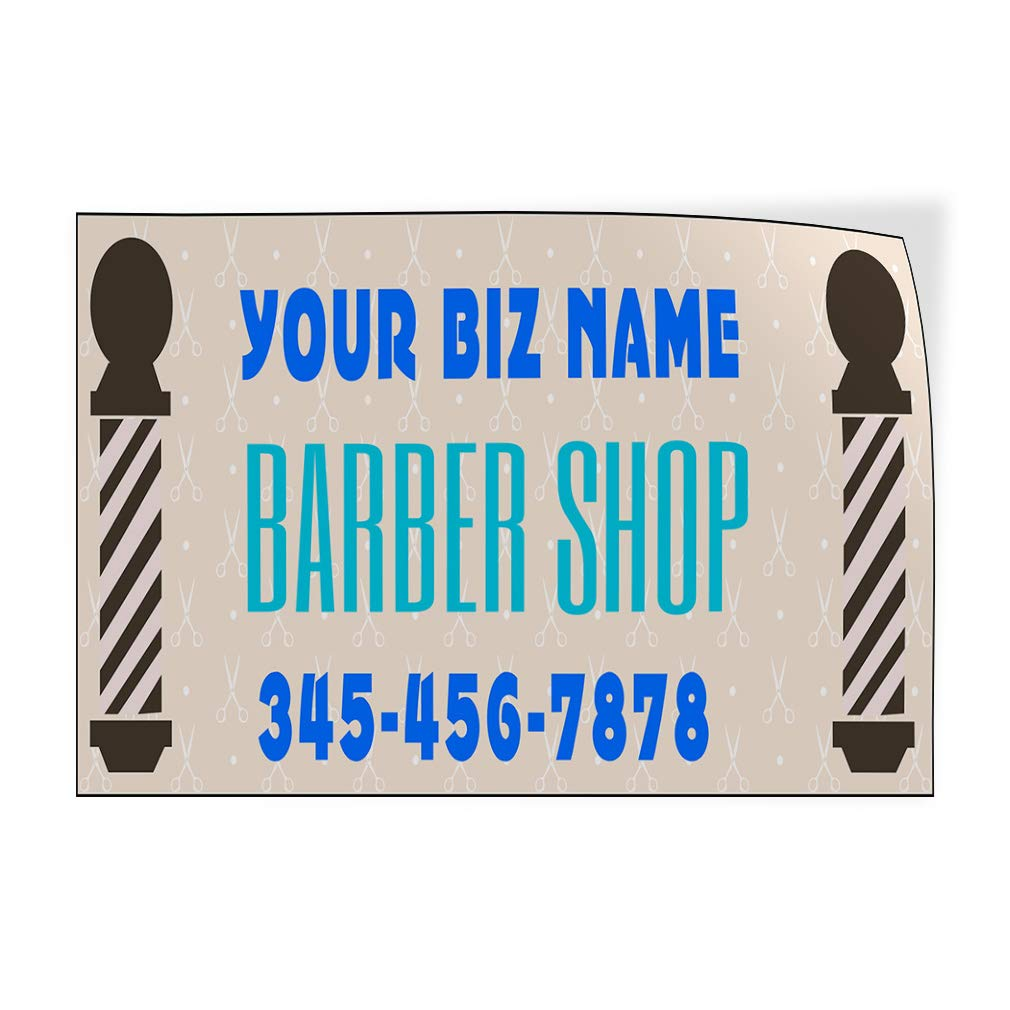 Custom Door Decals Vinyl Stickers Multiple Sizes Business Name Barber Shop Phone Number A Business Barber Shop Signs Outdoor Luggage /& Bumper Stickers for Cars White 34X22Inches Set of 5