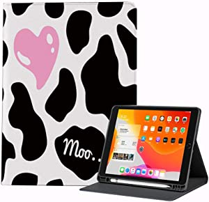 Case for iPad Air 4 2020 10.9 Inch Cow Print Camouflage Hide Pattern in Black White with Cute Heart Shape Moo Decorative Shell Protective Smart Cover for iPad Air 10.9