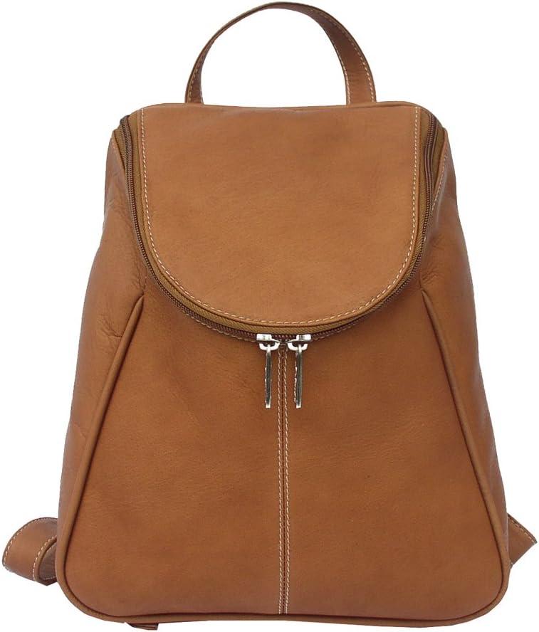 Piel Leather U-Zip Backpack, Saddle, One Size