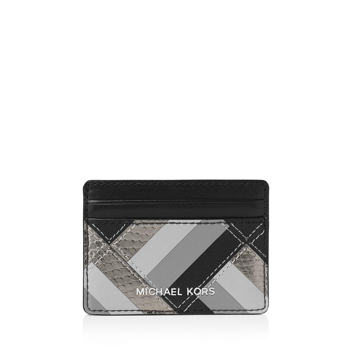 MICHAEL Michael Kors Womens Marquertry Patchwork Leather Card Case Black O/S