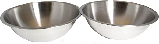 SET OF 2-10 Inch Wide Stainless Steel Flat Rim Flat Base Mixing Bowl Winco