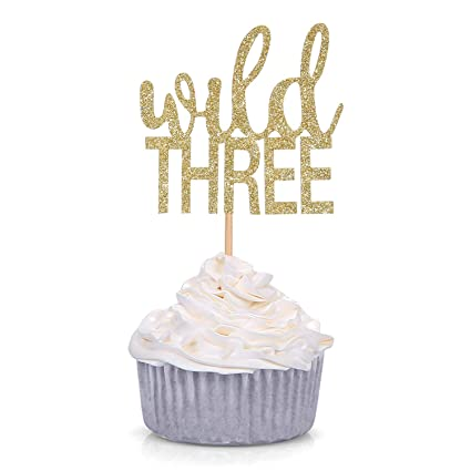 Amazon 24 Counts Gold Glitter Wild Three Cupcake Toppers Kids