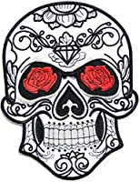 "9.75"" XXL Size Big Jumbo Large Red Rose Sugar Skull Ghost Day of Death Love Never Die Lady Rider Biker Tatoo Logo Back Motorcycles Jacket T-shirt Patch Sew Iron on Embroidered Sign Badge Costume"