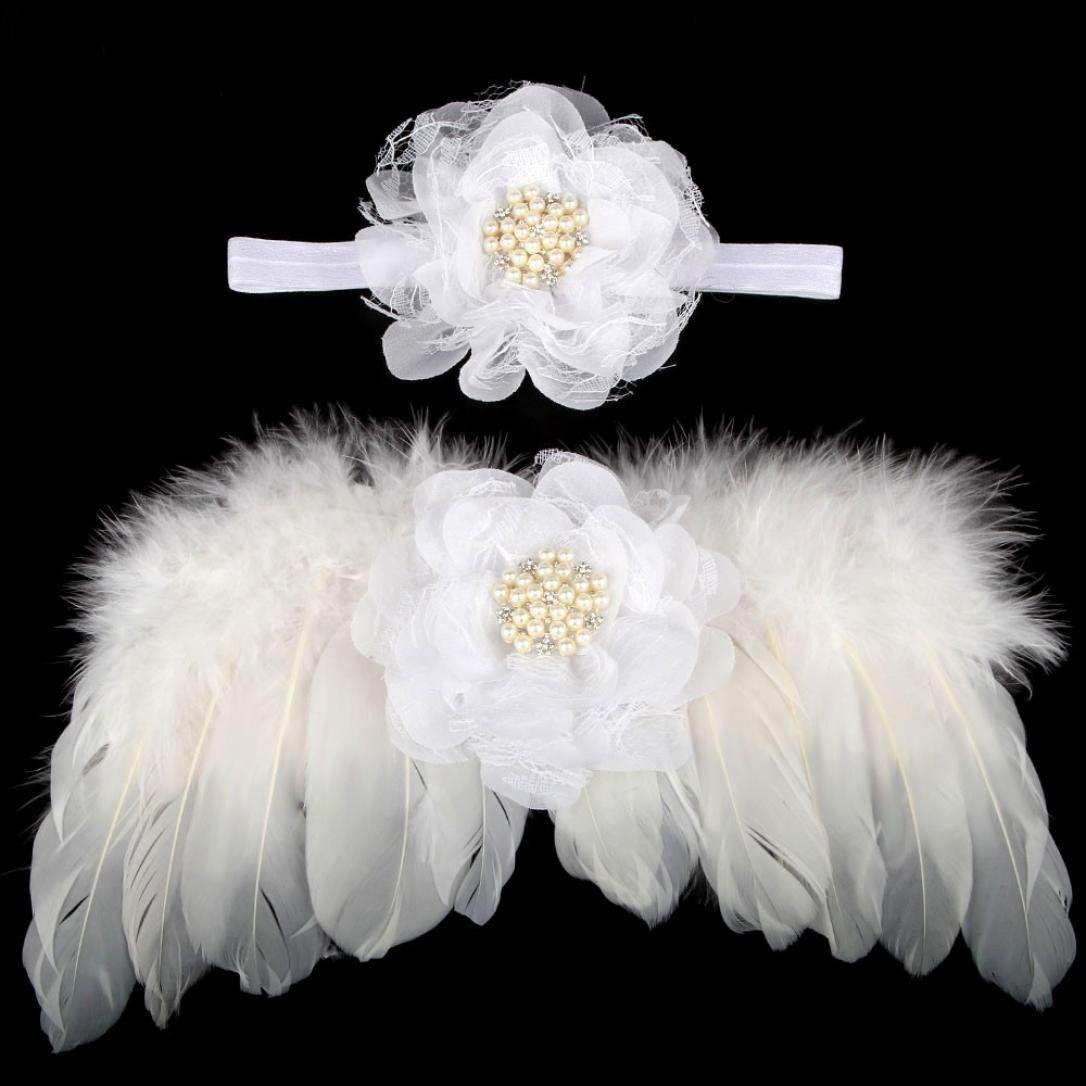 Bestpriceam Newborn Baby Angel Feather Wings Wing Feather Photo Prop Girls Hair Accessories (White)