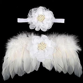 Newborn Baby Girl Bapstim Feather Angel Wing Headband Hair Bow Photography Party