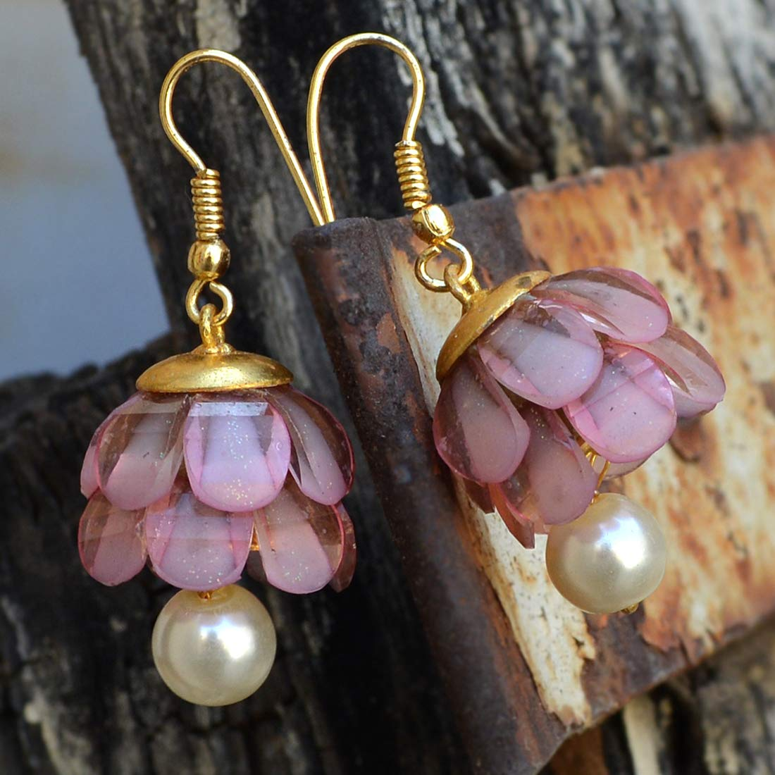 Saamarth Impex Pink Crystal /& Pearl Gold Plated Dangle Earring PG-131919