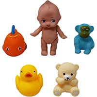 Squeezy Animal Shaped Bath Toys Bathtub Floating Water Toys (Pack of 5) (1TNG299)