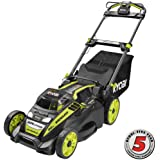 "Ryobi. 20"" RY40190 40-Volt Brushless Lithium-Ion Cordless Battery Self Propelled Lawn Mower with 5.0 Ah Battery and Charger Included"