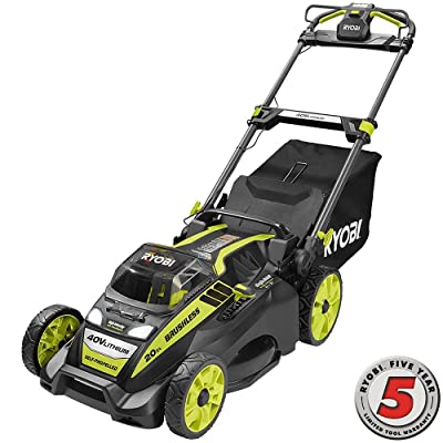 Ryobi 20 in. 40-Volt Brushless Lithium-Ion Cordless Self-Propelled Walk Behind Mower with 5.0 Ah Battery and Charger Included