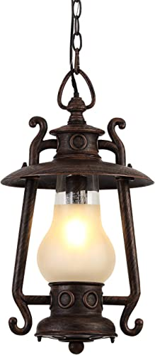 GZBtech Vintage Outdoor Pendant Light, 1-Light 72.8 Adjustable Exterior Rust Bronze Hanging Lantern, 110V Kerosene Style Farmhouse Ceiling Hanging Lighting with Frosted Glass Shade for Porch