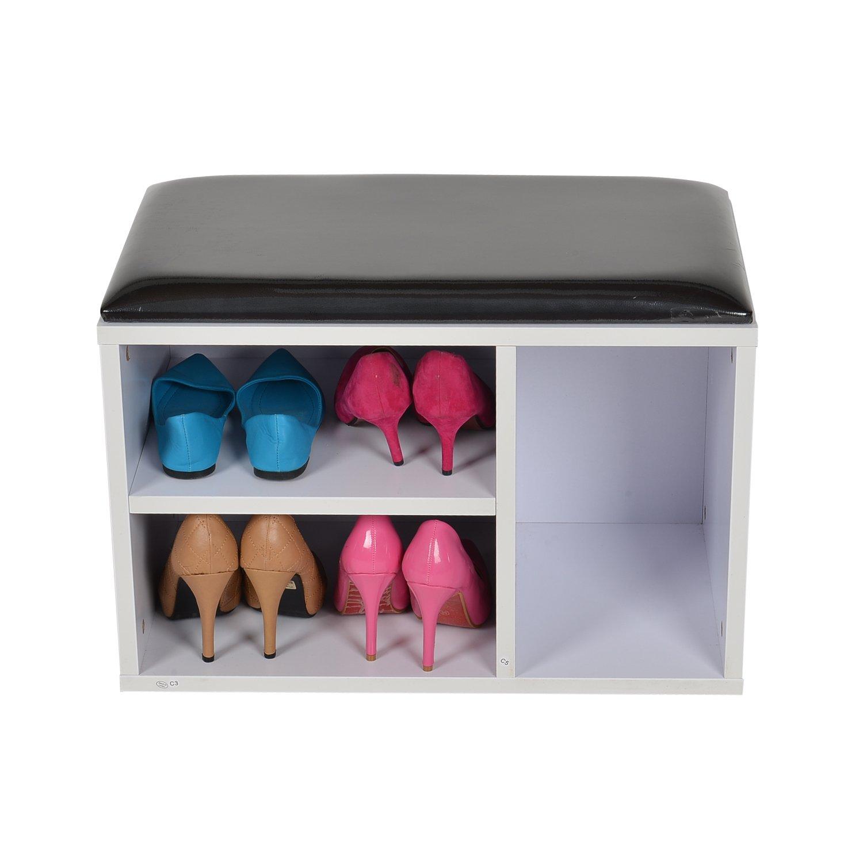 HOMCOM Wooden Shoe Bench Organizer PU Seat Entryway Storage Shelf Cabinet, White Aosom Canada