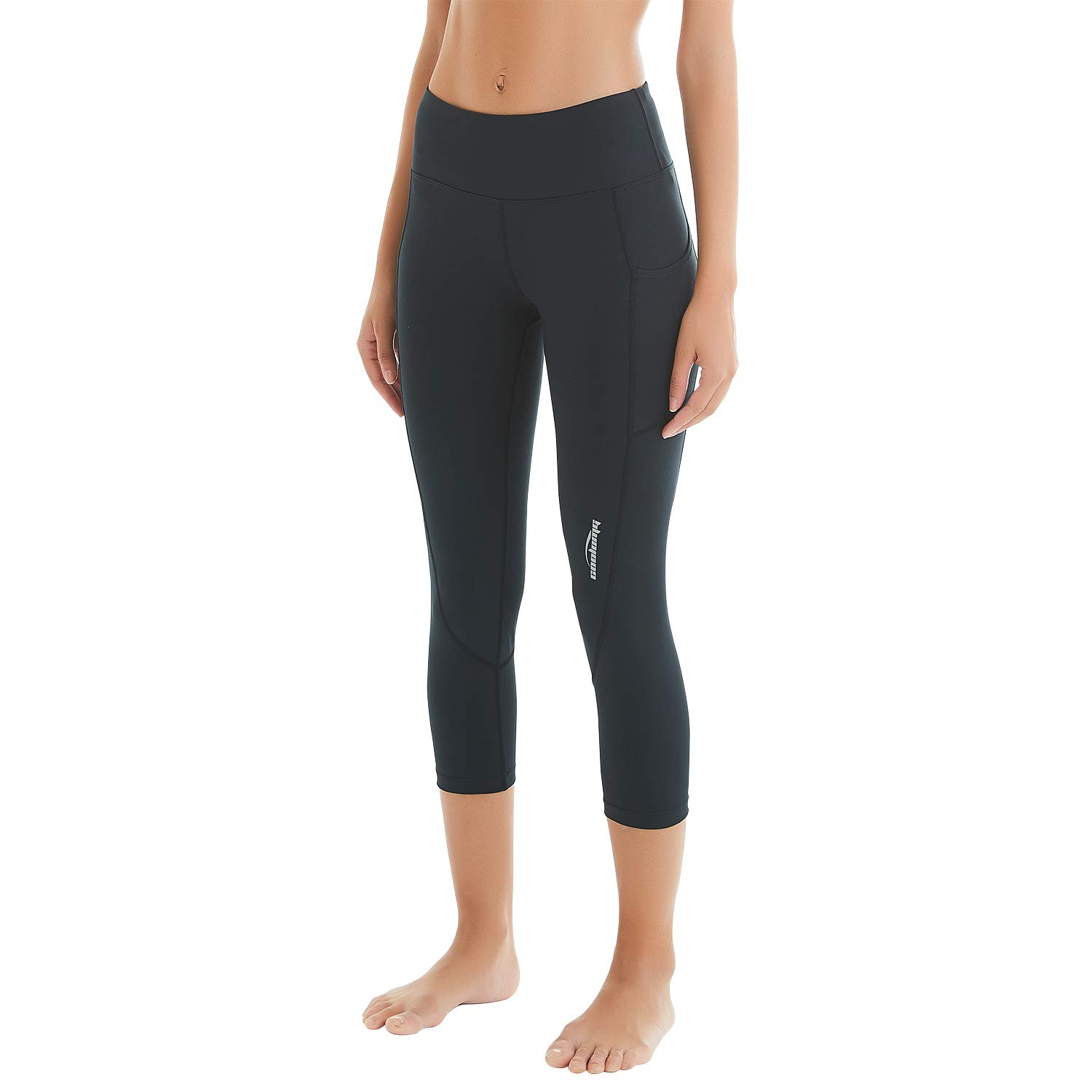 12cd9f2d5f Amazon.com : COOLOMG Women's High Waist Yoga Pants Compression Running  Tights Sports Leggings Non See-Through Side Pockets : Clothing