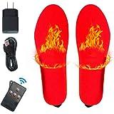 BOYKO Eléctrica Recargable Caliente Calcetines Calcetines para los pies fríos crónicos (Suelas calefactoras- Rojo)