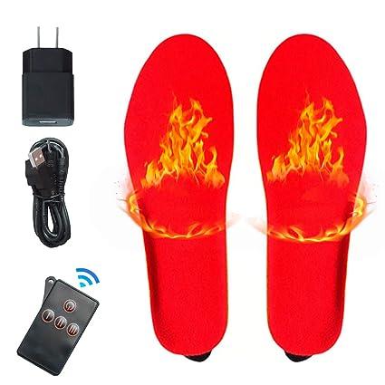 BOYKO Eléctrica Recargable Caliente Calcetines Calcetines para los pies fríos crónicos (Suelas calefactoras- Rojo