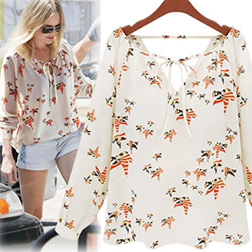 Chiffon Floral Blouses,Hemlock Women Girls Long Sleeve Shirts Cool Thin Tops (L, White)