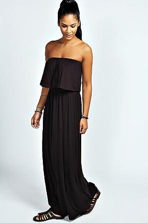 efded713f83 Womens Casey Bandeau Frill Top Maxi Dress - 8 - Black  Amazon.co.uk   Clothing