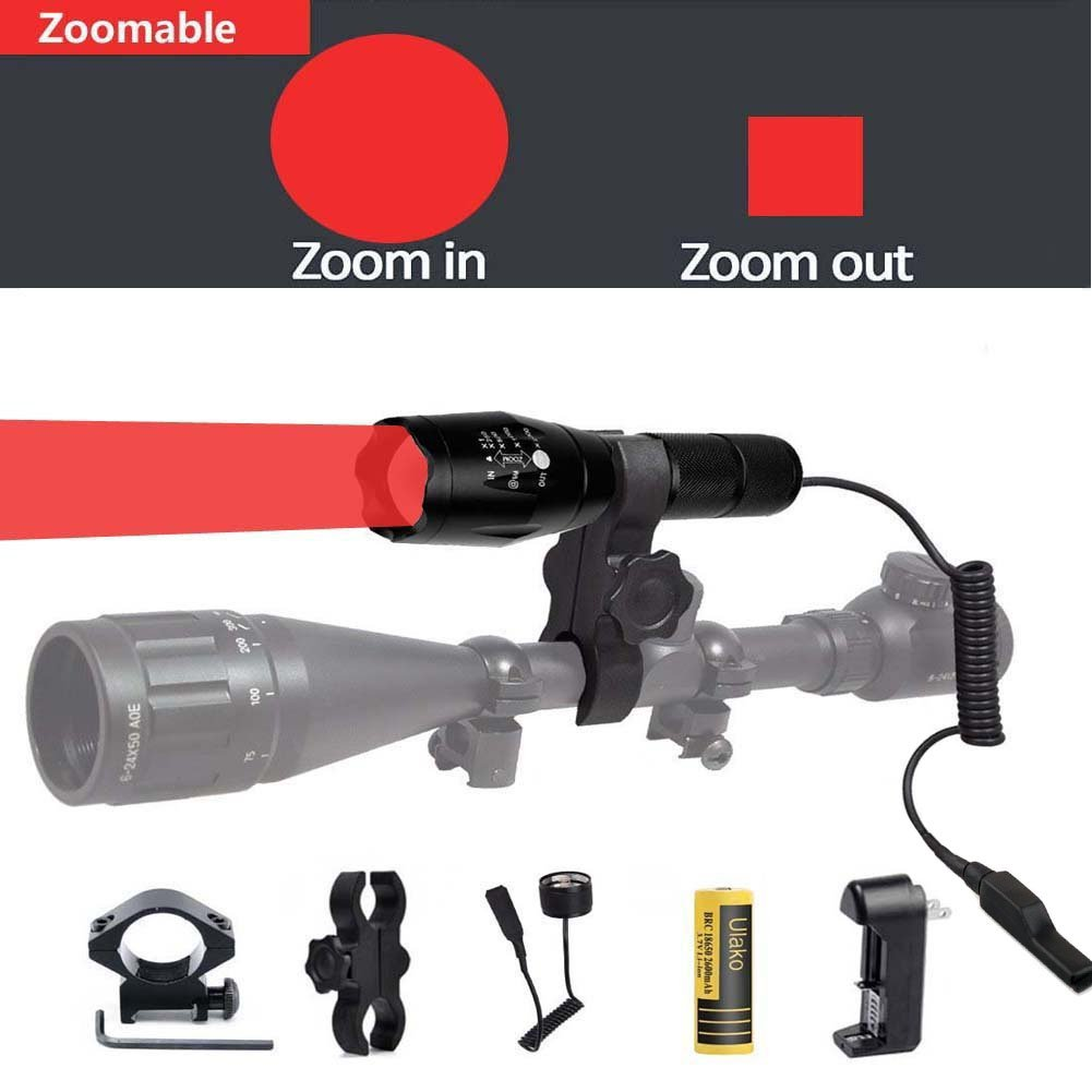 Ulako Red Light 250 Yards Spotlight Flood Light Zoomable Tactical Hunting Flashlight Torch for Hog Pig Coyote Varmint Predator Rifle