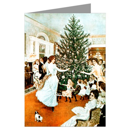Victorian Christmas Tree Trimming Holiday Party Vintage Greeting Cards Boxed Set ()