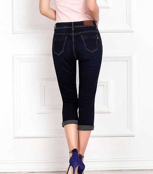 YuanDian Femme Été Grande Taille 34 Longueur Casual Skinny Capri Jeans Stretch Slim Fit Cropped Denim Pantacourt