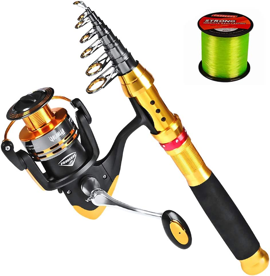 PROBEROS Fishing Rod and Reel Combo Telescopic Fishing Pole