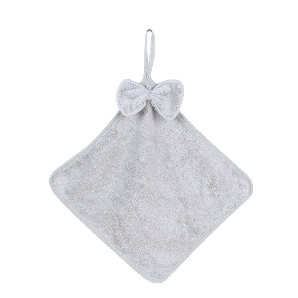 display08 Bowknot Design Soft Hanging Towel Water Absorbent Hand Towel for Kitchen Bathroom Grey