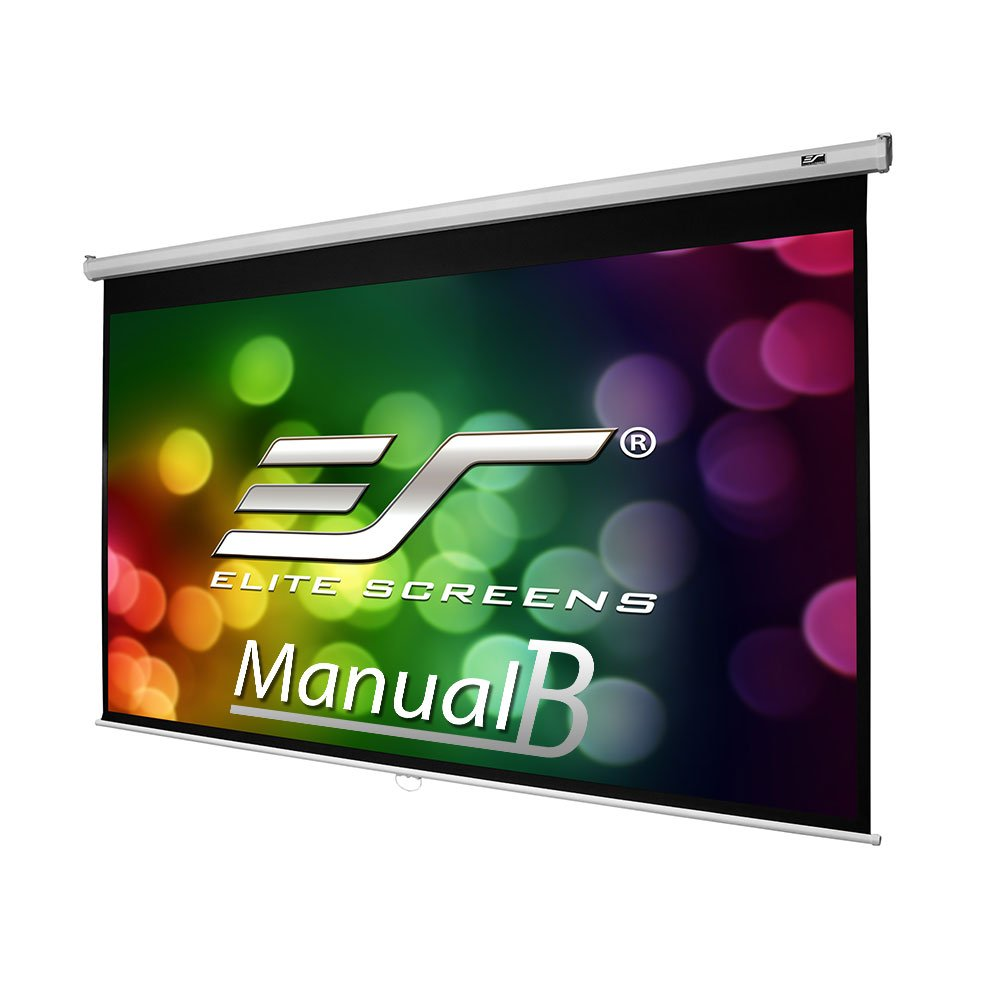 Elite Screens Manual B, 135-INCH, 16:9, Manual Pull Down Projector Screen 4K / 8K Ultra HDR 3D Ready with Slow Retract Mechanism, 2-YEAR WARRANTY, M135H