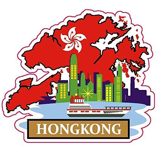 - Hong Kong China National Flag and Map Sticker for customization of favorite items such as suitcases