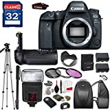 Canon EOS 6D Mark II DSLR Camera (BODY ONLY) with TTL Flash, Tripod, Mono-Pod, Battery Grip + Professional Accessory Bundle