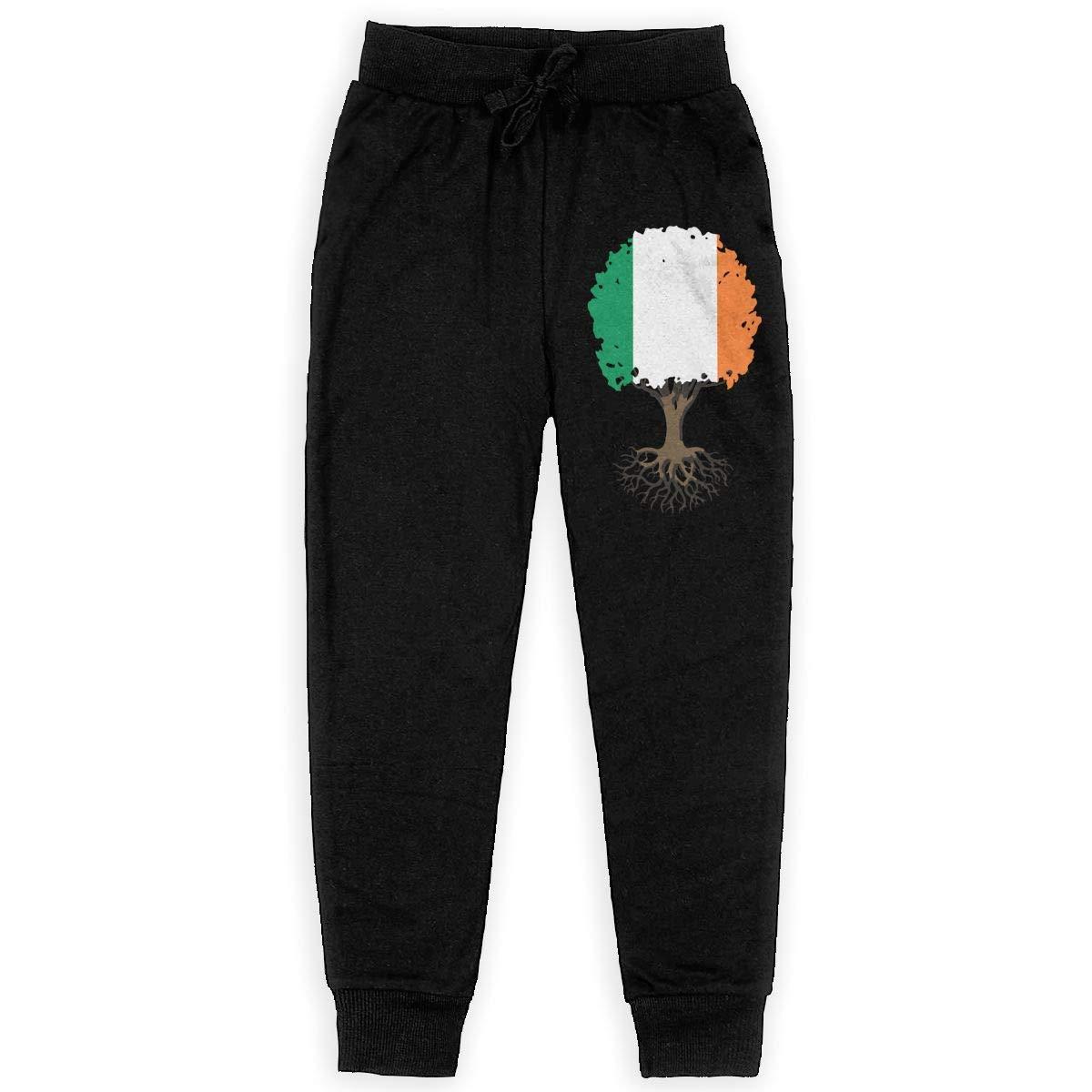 Boys Fleece Pants for Teenager Boys WYZVK22 Tree of Life with Irish Flag Soft//Cozy Sweatpants