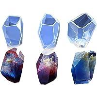 ARTSTORE DIY Moldes de silicona de diamante multifacetados para fabricación de joyas, fibra de vidrio